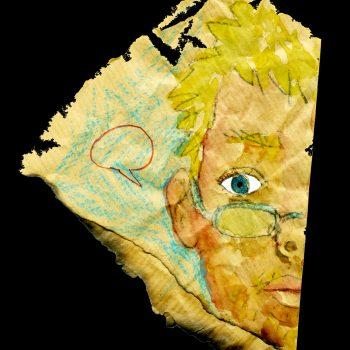 Autoportrait de Rémi Crasset dessiné sur un demi-parchemin