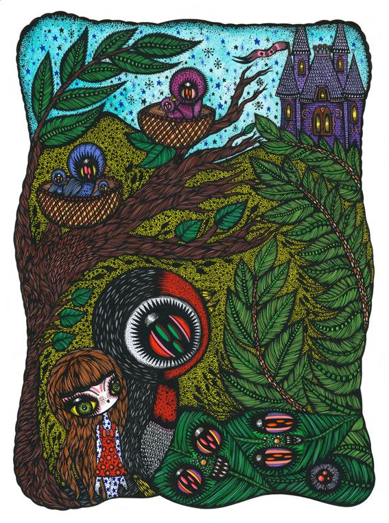 Illustration réalisée par Ciou pour le conte Thumbelina